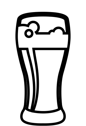 Line graphic icon of a beer glass full of beer