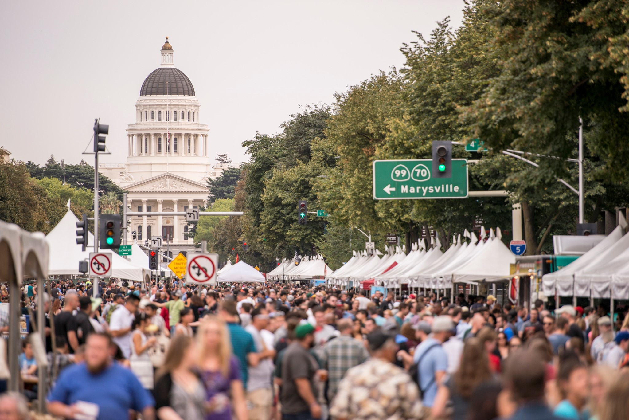 View of the California State Capitol building from the California Craft Beer Brewfest