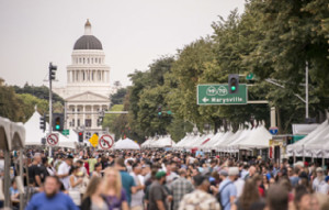 The large crowds of people on the Capitol Mall during an outdoor event