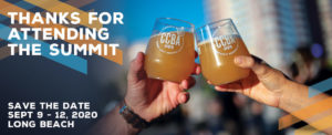 an image of two hands cheers-ing their beer glasses together with the words 'Thanks for attending the summit' superimposed on top